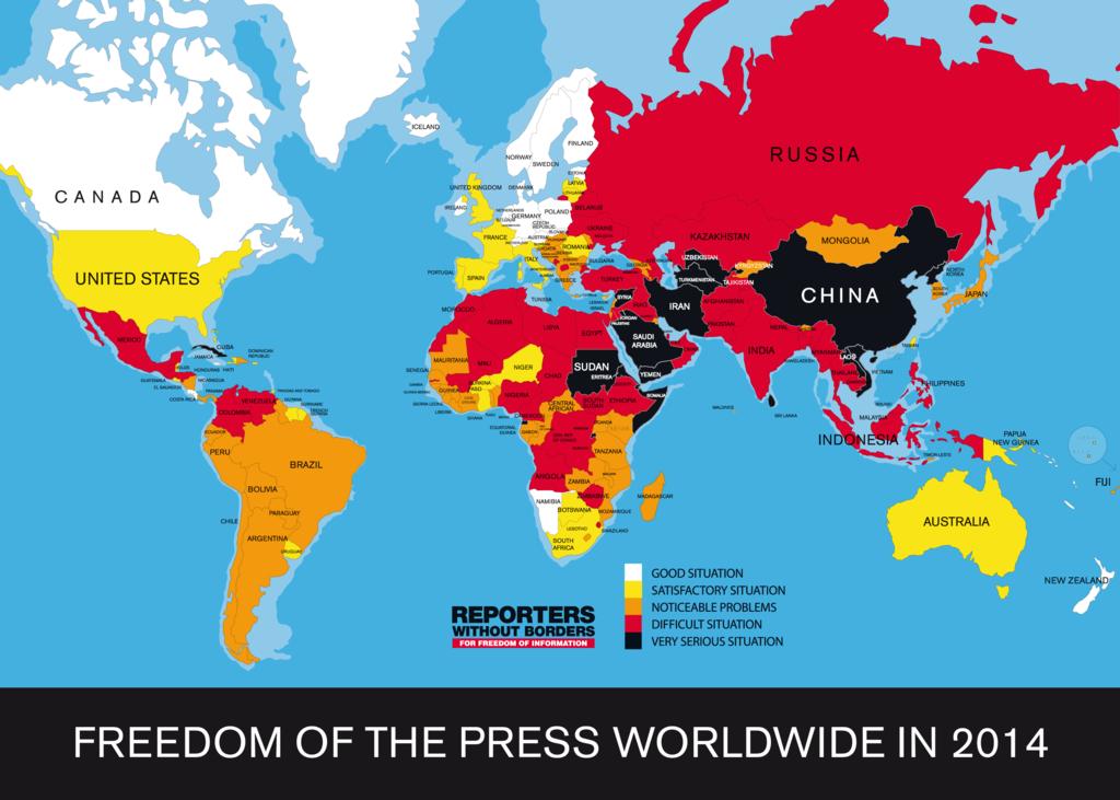 """Quest'ultima mappa è davvero molto interessante perché ci permette di vedere in quali stati vi è una grande libertà di stampa e in quali invece la libertà di stampa è al minimo Possiamo notare che in Asia ed in Africa particolarmente, la libertà di stampa è molto limitata e spesso molti articoli vengono censurati. In paesi come Sudan, Iran, Cina, Arabia Saudita, i giornalisti possono davvero rischiare la propria vita in caso pubblicassero degli articoli """"scomodi"""" Questi sono paesi dove spesso molte persone finiscono in prigione oppure vengono addirittura uccise. Al contrario, nel nord Europa e nel Nord America, vi è una grande libertà di stampa. Questo fenomeno dipende molto dal regime che governa in un determinato Stato. Non stupisce infatti che nei paesi democratici , la libertà di stampa è garantita.  Nei paesi che sono citati sopra, governa invece un regime dittatoriale che si impegna ad eliminare tutto ciò che potrebbe influire negativamente sull'immagine del Dittatore."""
