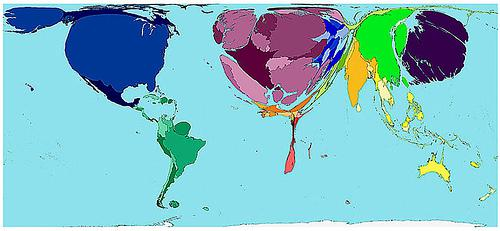 Il Sud del mondo microscopico e il nord estremamente esteso. Perché? La risposta è nei soldi, nella ricchezza. L'Africa stretta e sottile perché poverissima e stati come : USA, Germania, Francia e Regno Unito, rigonfiati Questa mappa mette in evidenza la distribuzione sbagliata delle ricchezze presenti sul nostro pianeta.