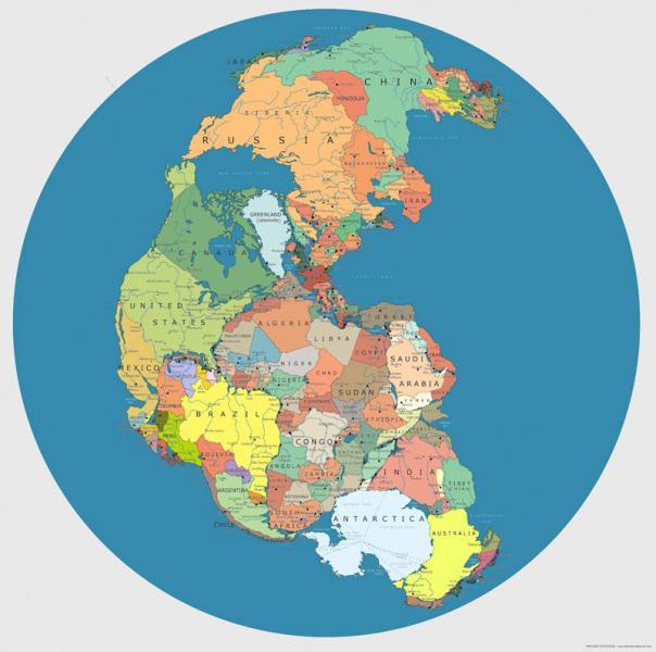 I continenti ridotti ad un unico blocco di terra, come nell'antico continente della Pangea. L'Antartide confinerebbe con paesi come Sud Africa, India e Australia. L'America del Nord e l'Africa si troverebbero a due passi di distanza, così come il Sud America.